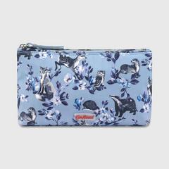 Cath Kidston Matt Zip Make up Bag Mini Badgers and Friends Grey Blue