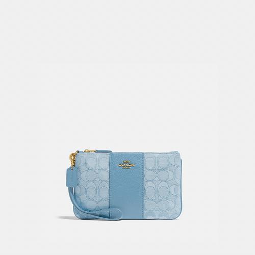 蔻驰COACH Small Wristlet In Signature Jacquard - B4/Blue