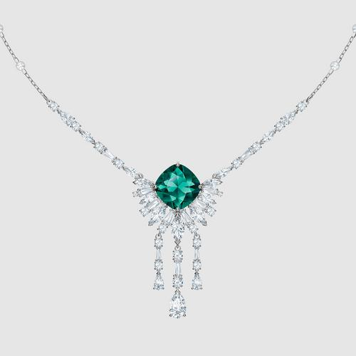 SWAROVSKI Palace Necklace, Green, Rhodium plated