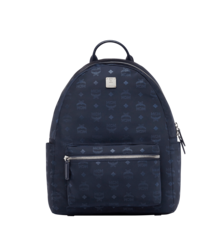 MCM Stark Classic Backpack in Monogram Nylon - Navy Blue (Medium)