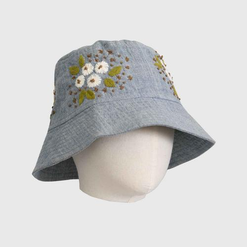 Nine Chaidee : Hand Embroidered Cotton Hat - Gray