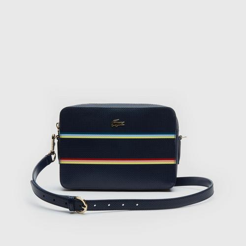 LACOSTE Women'S Chantaco Colour Striped Piqué Leather Square Crossover Bag