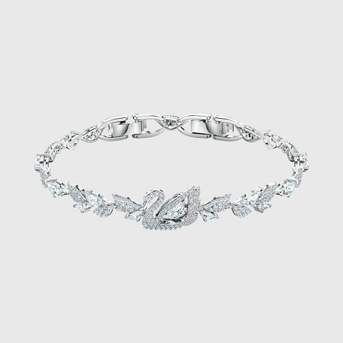 SWAROVSKI Dancing Swan Bracelet, White, Rhodium plated - Size M