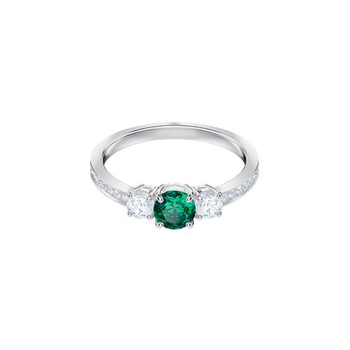SWAROVSKI Attract Trilogy Round Ring, Green, Rhodium plating-Size 50