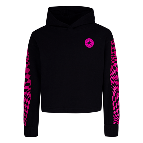 CONVERSE  Warped Check Cropped Pullover Hoodie - Black - Girls S