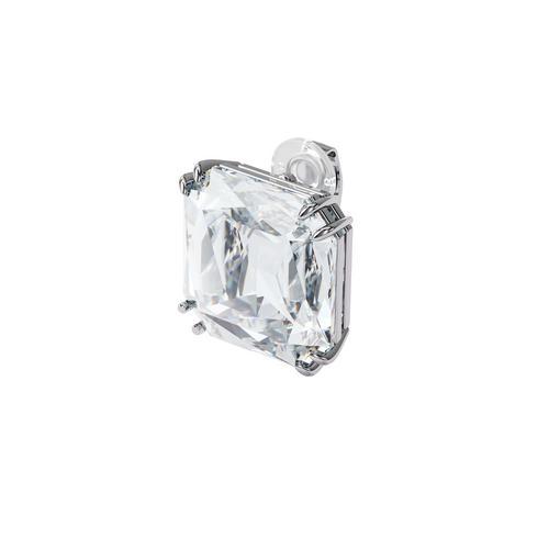 SWAROVSKI Mesmera clip earring Single, Square cut crystal, White, Rhodium plated