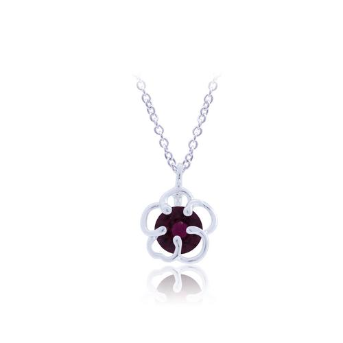 12VICTORY Red Flower Necklace