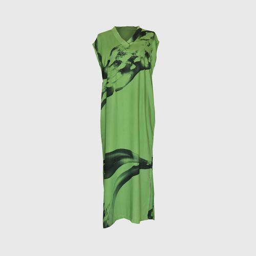 LAISEN V-neck cap sleeve dresss with side slits - Green
