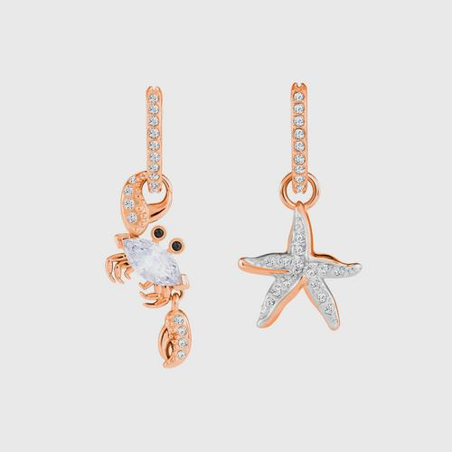SWAROVSKI Ocean Crab Pierced Earrings, White, Rose-gold tone plated