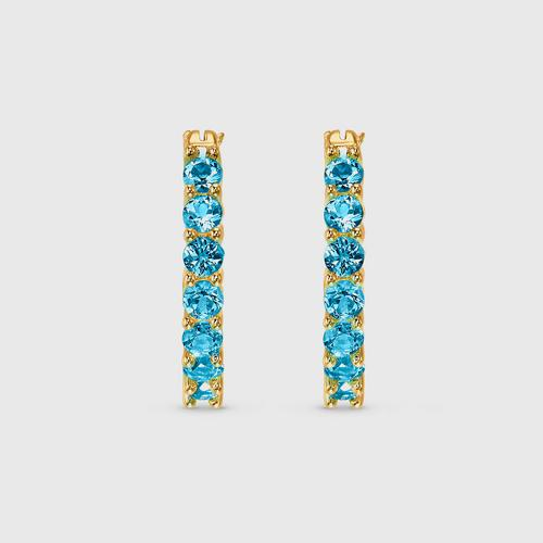 SWAROVSKI Vittore Hoop Pierced Earrings, Aqua, Gold-tone plated