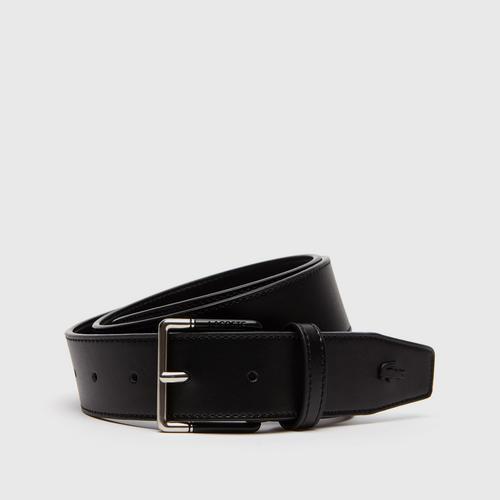 LACOSTE Men's Lacoste Engraved Tongue Buckle Leather Belt - Navy