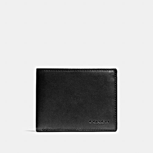 COACH Sport Calf Slim Billfold ID Wallet - BLACK