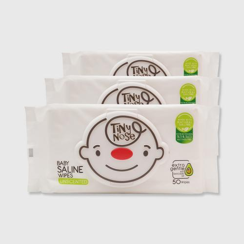 TINYNOSE BABY SALINE WIPES UNSCENT 50 SHEETS PACK 3