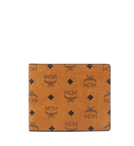MCM Claus Bifold Wallet in Visetos Original - Cognac (Small)