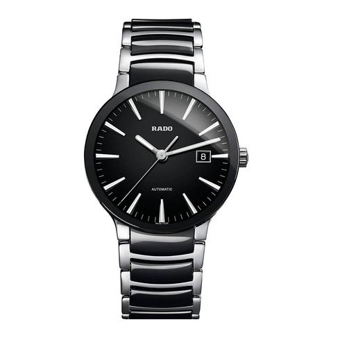 RADO Centrix 38 mm. With Black and Silver-Tone Stainless Steel Bracelet
