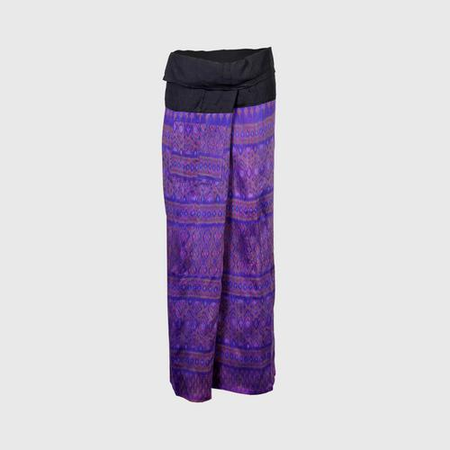 WANPEN THAISILK - Silk Pants Stacked lantern pattern Free size