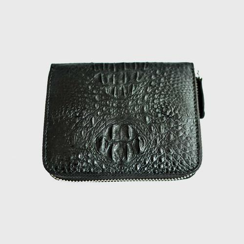 JK Zippy Compact Small Wallet with Black Hornback Skin