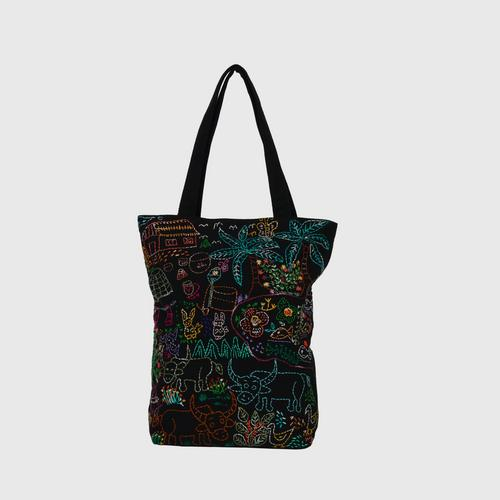NITHEE - Shoulder bag decorated with sufficiency economy pattern.