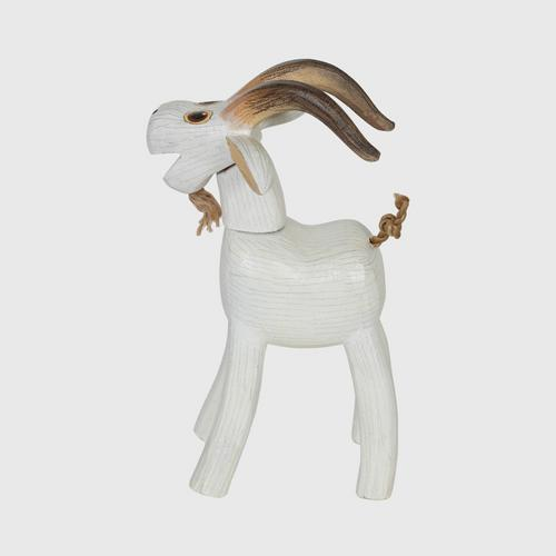 MR.THOW WOOD CRAFT DOLLS. OTOP Hand painted wood goat size m