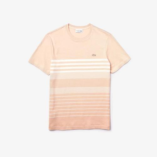LACOSTE Men's Striped Cotton and Linen T-Shirt - 6