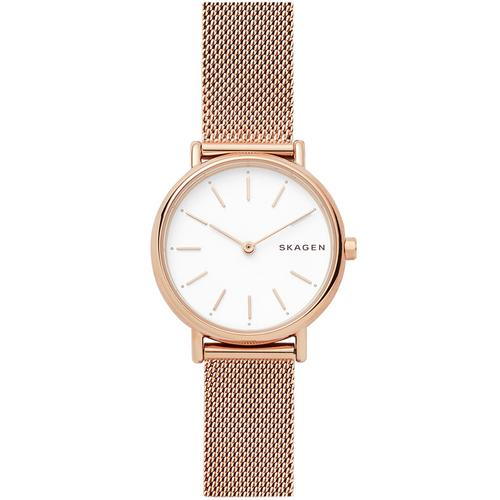SKAGEN Signatur Analog White Dial Rose Gold Stainless Steel Watch