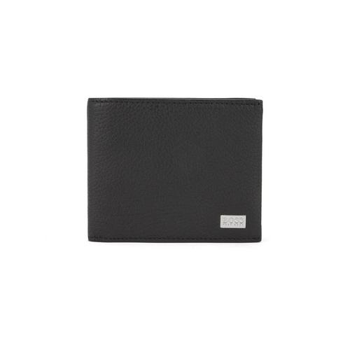 HUGO BOSS Trifold wallet in grained Italian leather (Black)