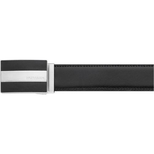 MONTBLANC Matte palladium-coated & black rectangular box buckle with engraved Montblanc brand name Belt