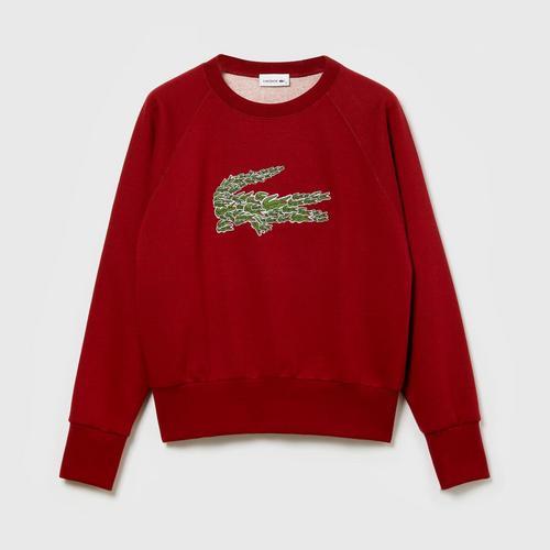 LACOSTE Women's Crew Neck Multi Croc Badge Fleece Sweatshirt (Red) - Size 38