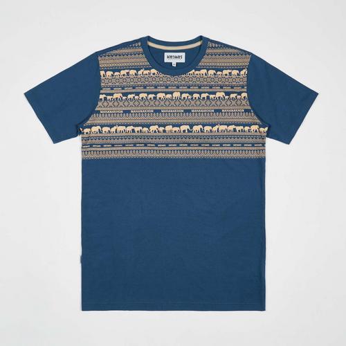 MAHANAKHON T-Shirt Elephant Family Blue Size S