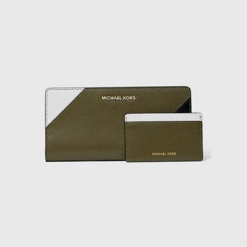 MICHAEL KORS Money Pieces Large Tri - Color Leather Slim Wallet - Olive Combp