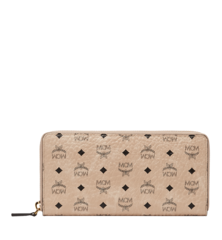 MCM VISETOS ORIGINAL ZIP AROUND WALLET LARGE - Beige