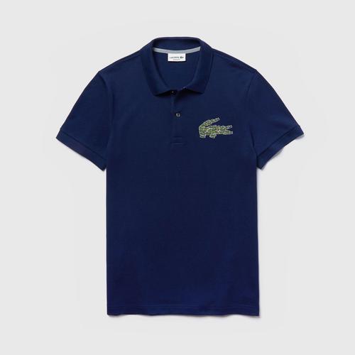 LACOSTE Men's Regular Fit Multi Croc Badge Cotton Piqué Polo Shirt (Navy Blue) - Size 2 (XS)