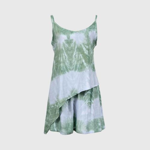 WONGDUENMATYOM - Men's oblique tie-dye one-piece set, fan pattern FREE SIZE