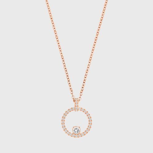 SWAROVSKI Creativity Circle Pendant, White, Rose gold plating