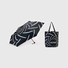 MAHANAKHON TYPO 2in1 Folding Umbrella Black with White Strip