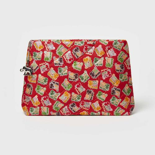 SILK MASTER Silk Cosmetic Bag L - Thai Silk 100%  Red