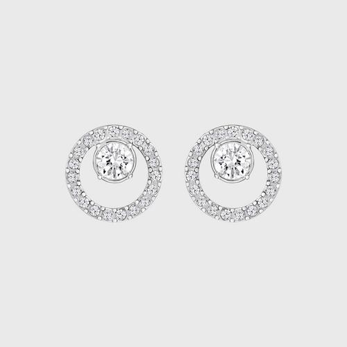 SWAROVSKI Creativity Circle Pierced Earrings, Small, White, Rhodium Plating