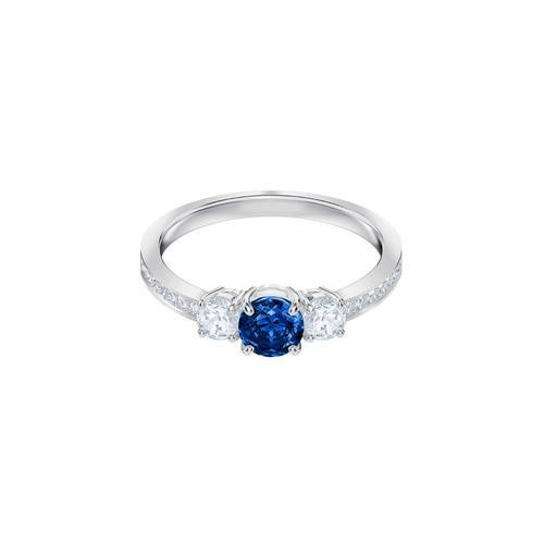 SWAROVSKI Attract Trilogy Round Ring, Blue, Rhodium plating-Size 55