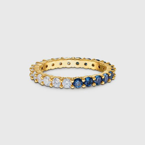 SWAROVSKI Vittore Half XL Ring, Blue, Gold-tone plated - Size 50
