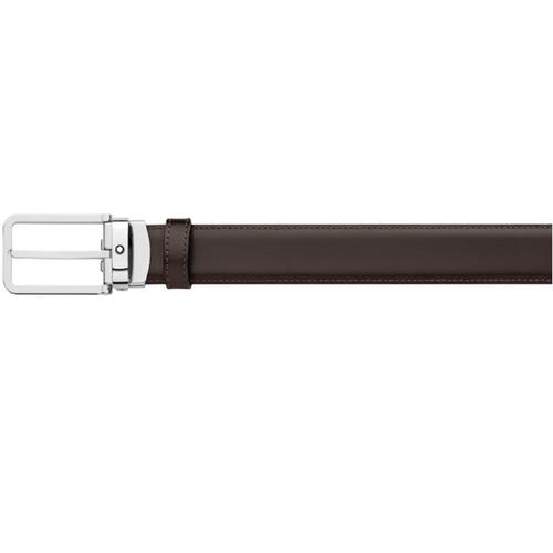 MONTBLANC Rectangular Leather & Shiny Stainless Steel Pin Buckle Belt