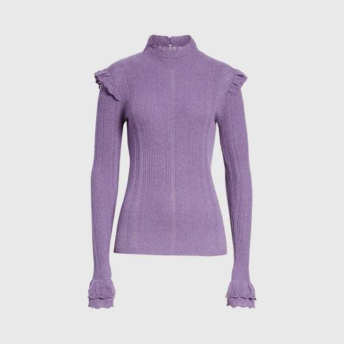 POLO RALPH LAUREN Ruffle Detail Pointelle Sweater - PURPLE M