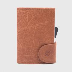 C-SECURE RFID Vintage Leather Coin-Wallet Cognac/ Silver Card holder