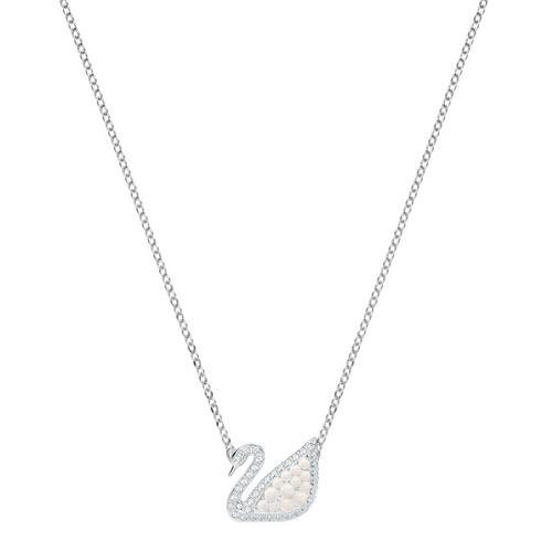 SWAROVSKI Iconic Swan Necklace, White, Rhodium plating