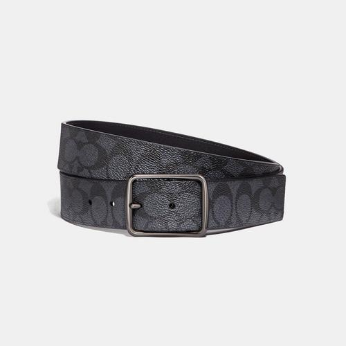 COACH Harness Buckle Cut-To-Size Reversible Belt, 38mm - Charcoal