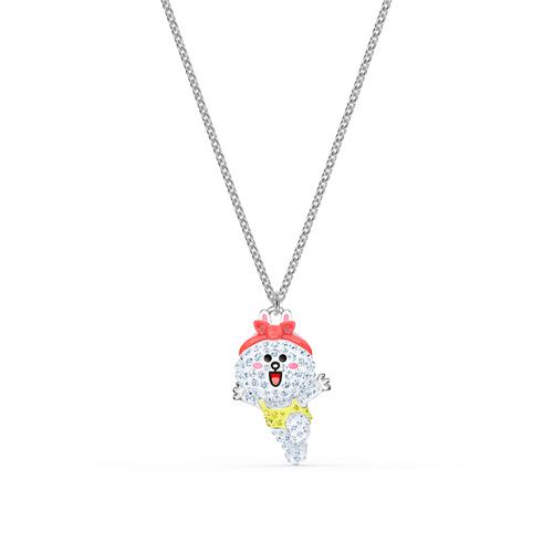 SWAROVSKI Line Friends Healthy Necklace, Light Multi-Colored, Rhodium Plated