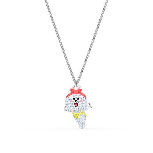 SWAROVSKI Line Friends Healthy Necklace, Light Multi-Colored, Rhodium Plated