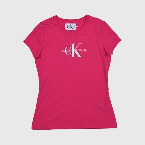 CALVIN KLEIN Metallic Monogram Logo Tee Pink Size XS