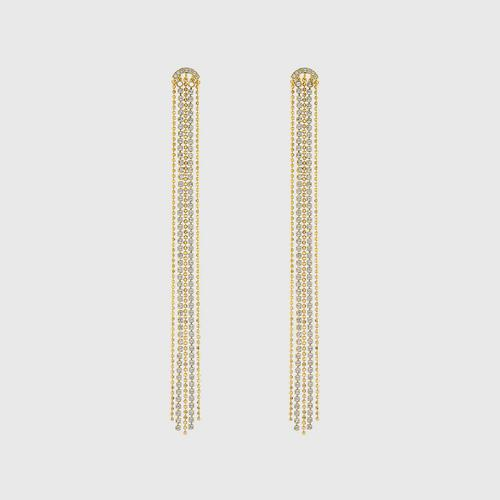 SWAROVSKI Fit Pierced Tassell Earrings, White, Gold-tone plated
