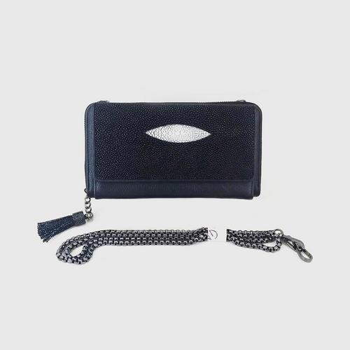 GENEVE Stingray Skin BLACK  LONG WALLET WITH CHAIN  4x8x1.5""