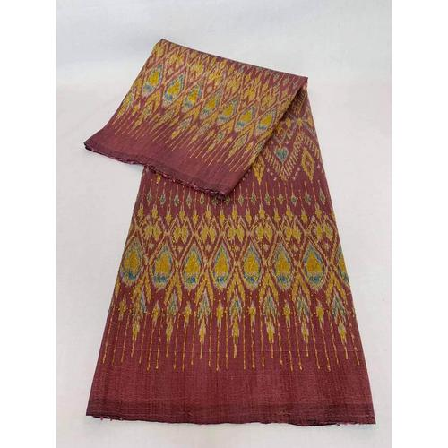 GOLD SILK - Mudmee silk, ancient pattern, engraved with red gold, size 1x2 m.